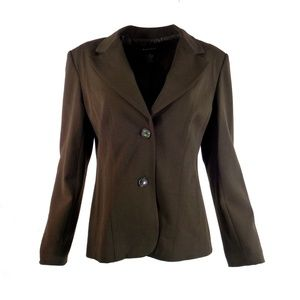 Rafaella Women Blazer 12 Brown Stretch Suit Jacket